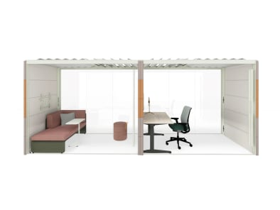 Personal space with Think chair, Ology desk, Airea, Grab Pouf, Lagunitas Lounge and Piper lighting