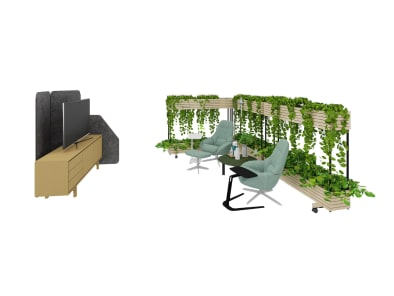 Personal space with Saga Armchair, Floow Sideboard, Steelcase Flex Collection, Free Stand and Lagunitas Lounge