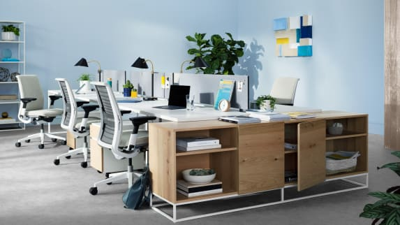 West Elm Work Greenpoint storage cabinet shown next to a group of desks