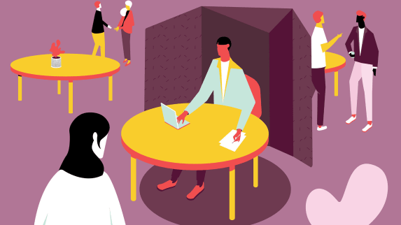 Digital graphic of people socializing in a cafe area.