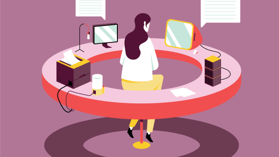 Digital graphic of a person sitting in a circle surrounded by digital technology.