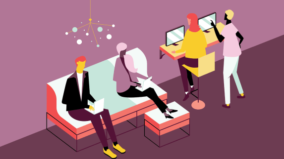 Digital graphic of four people working in a lounge workspace with umami seating.