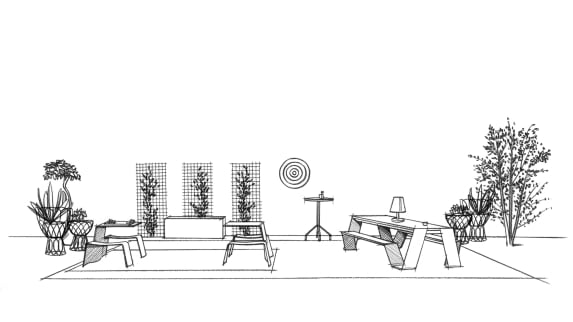 Sketch of a gathering space with Extremis seating.