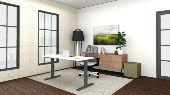 Small home office with series 1 chair and height adjustable desk
