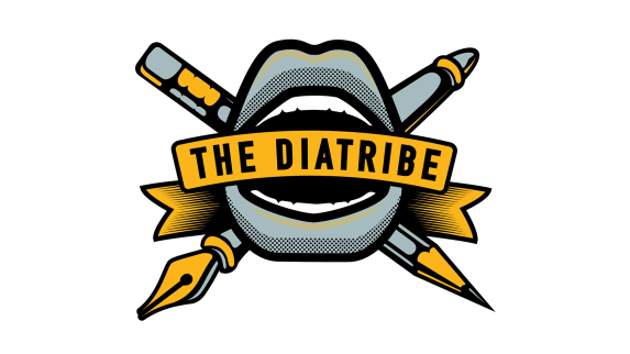 The Diatribe logo with a mouth illustration and pencils