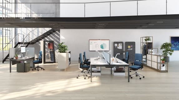 Reconnect with coworkers at this drop-in team neighborhood near a leader's owned workstation.