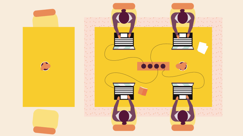 Digital graphic of four people working at a collaborative workspace.