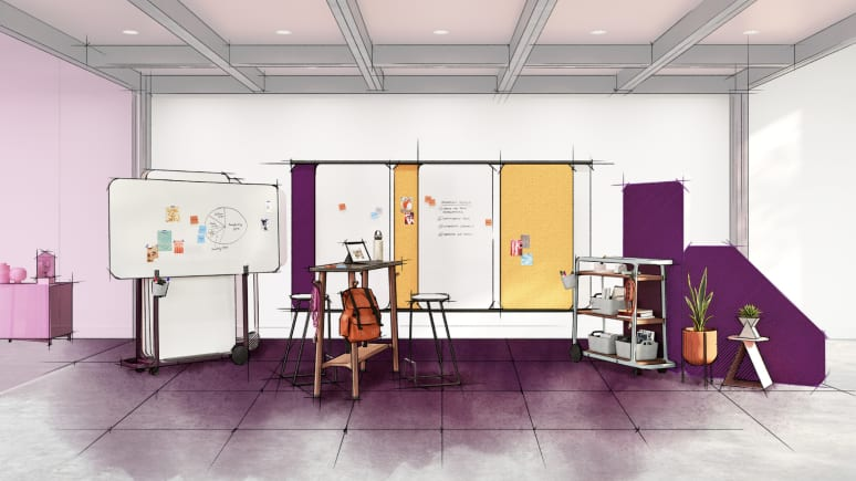 Digital color sketch of Steelcase Flex markerboards, carts, tables and accessories.