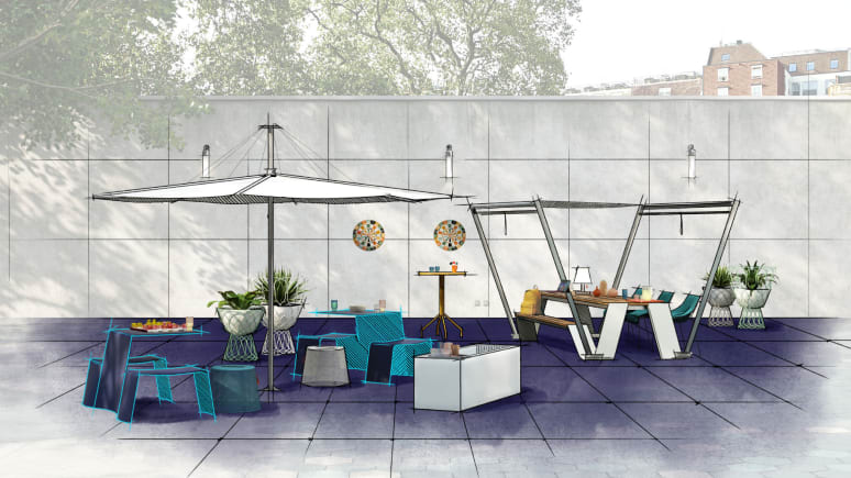 Digital color sketch of an outdoor setting featuring Extremis seating and EMU vases.