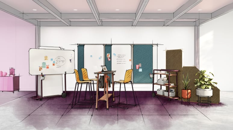 Collaboration space with Steelcase Flex Collection products, one table, three chairs, three whiteboards