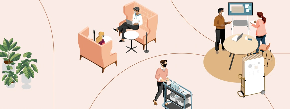 Work better illustration of people walking around and sitting in a social space