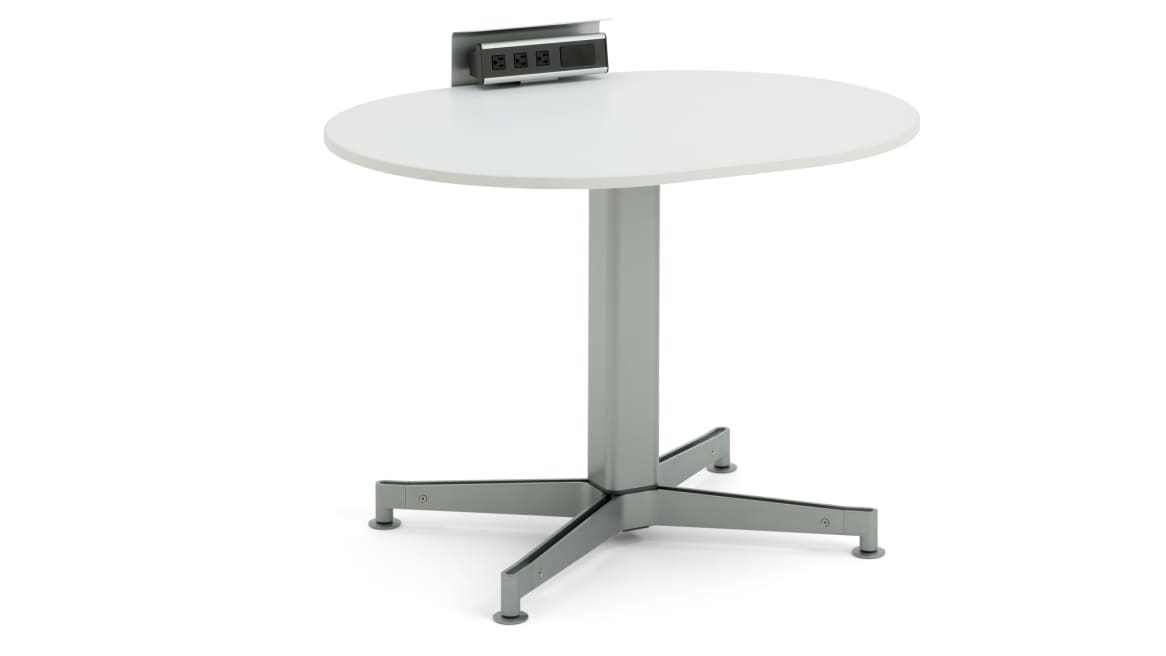 ScapeSeries sitting height table with power outlet on white background