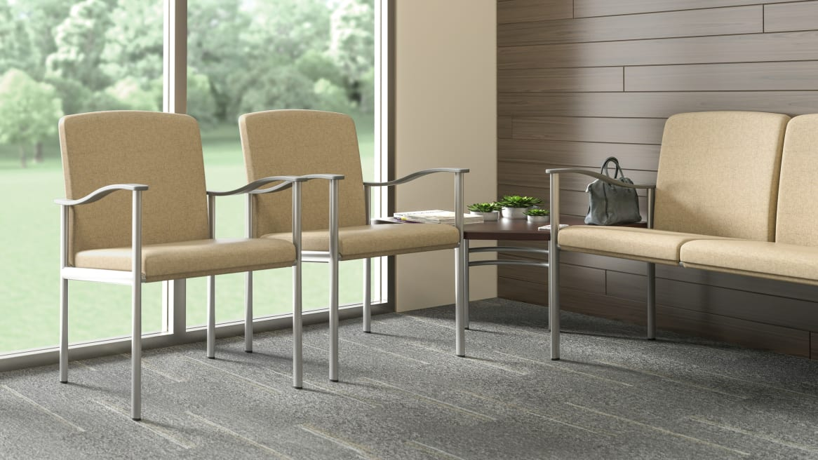 2 Single-Seat Aspekt and Two-seat with no center arm or legs Guest Chairs Environment
