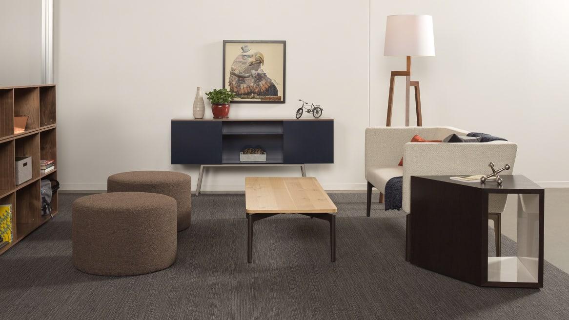 Bivi Lounge Application with Dark Blue Bivi Trunk and light grey Bivi Rumvle Seat