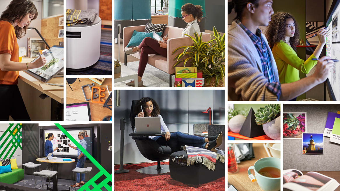 Collage of people working and collaborating while using the interactive ideation hub surface, their laptops and Steelcase furniture.