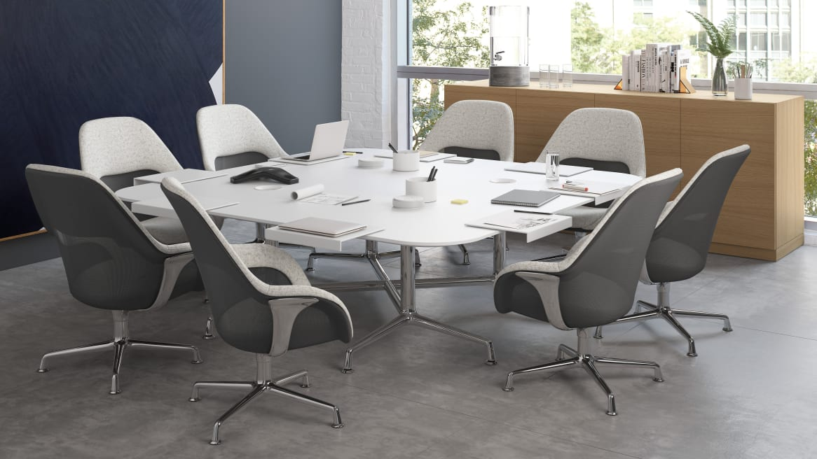 Big square table with white SW_1 Seating around it