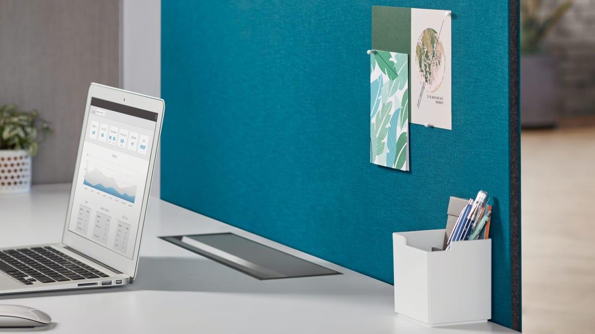 Blue Universal Privacy Modesty Screen, MAC laptop on a white desk
