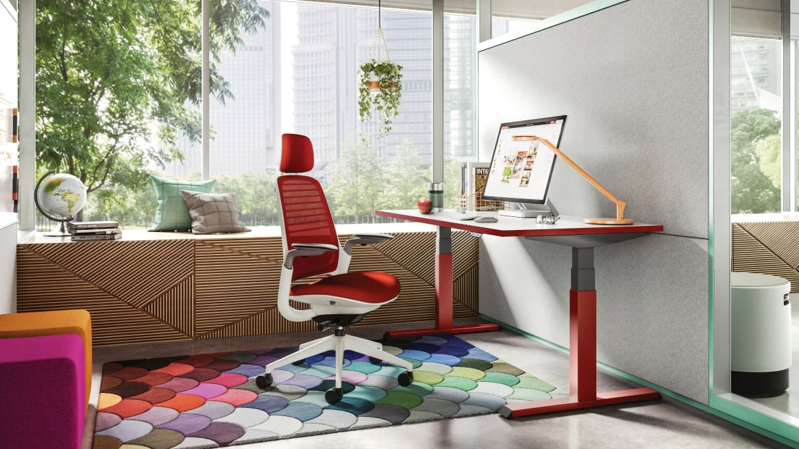 Migration height-adjustable desk and Steelcase Series 1 chair