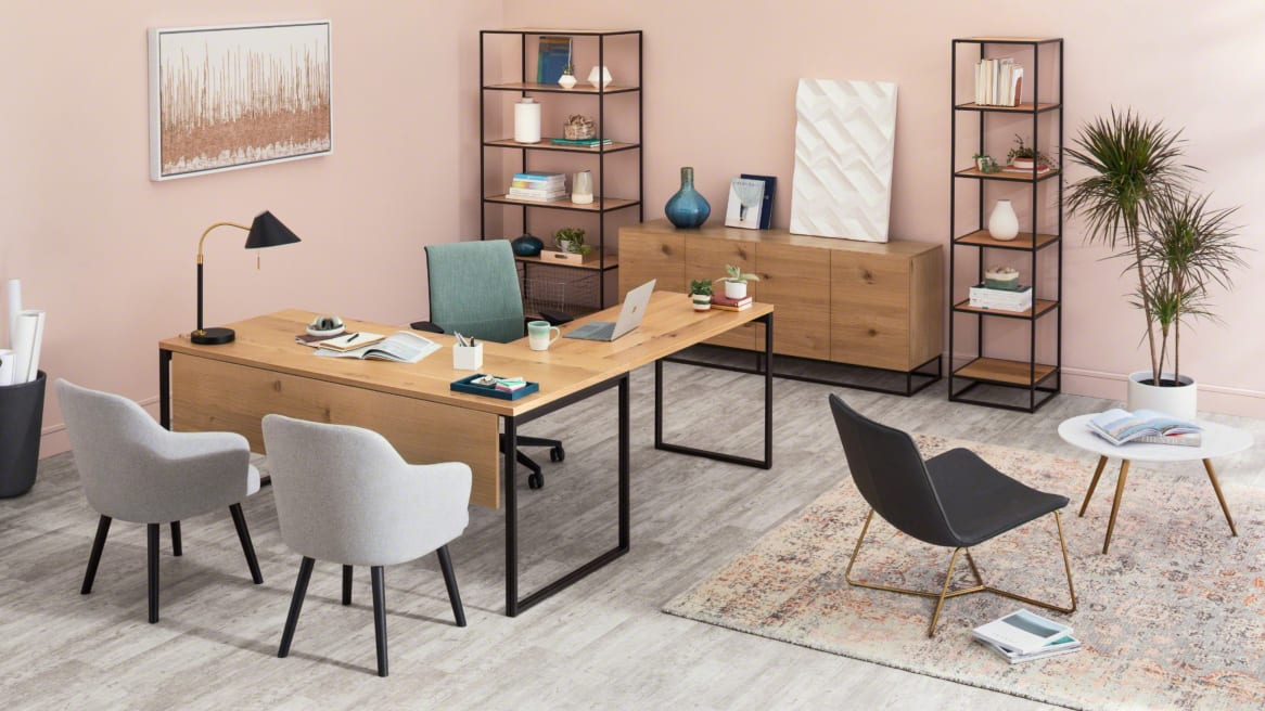 A private office featuring products from the West Elm Work Greenpoint collection