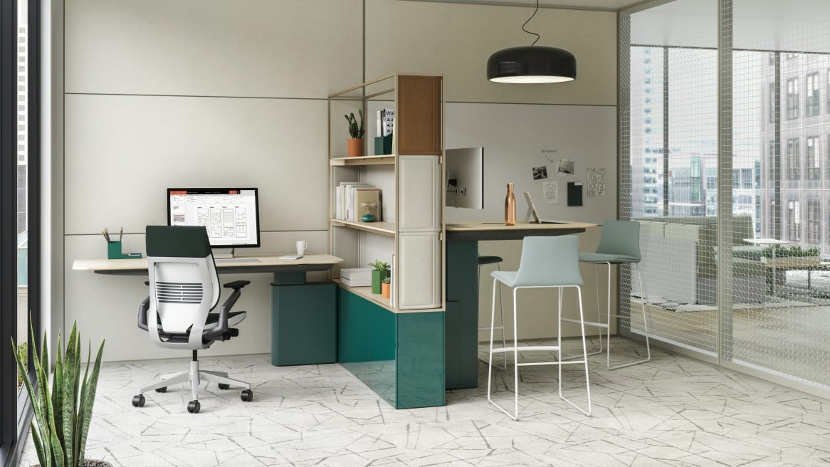 Mackinac worksurfaces used to create an individual workstation with Gesture chair and a meeting area with Montara650 stools