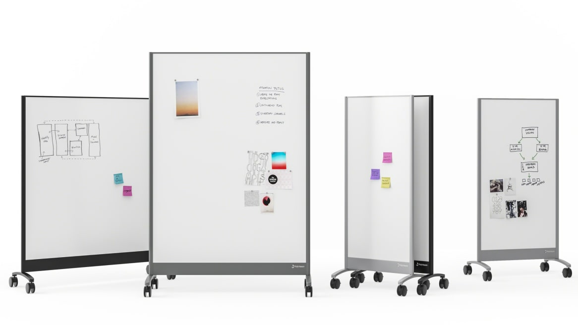 a3 CeramicSteel Mobile Whiteboards On White