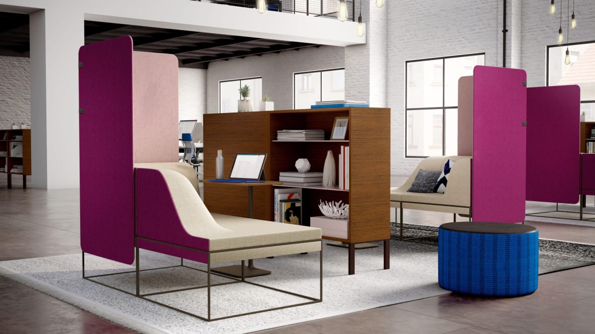 Umami Respite Area, Gesture Chair, Lagunitas Personal Table, FrameOne