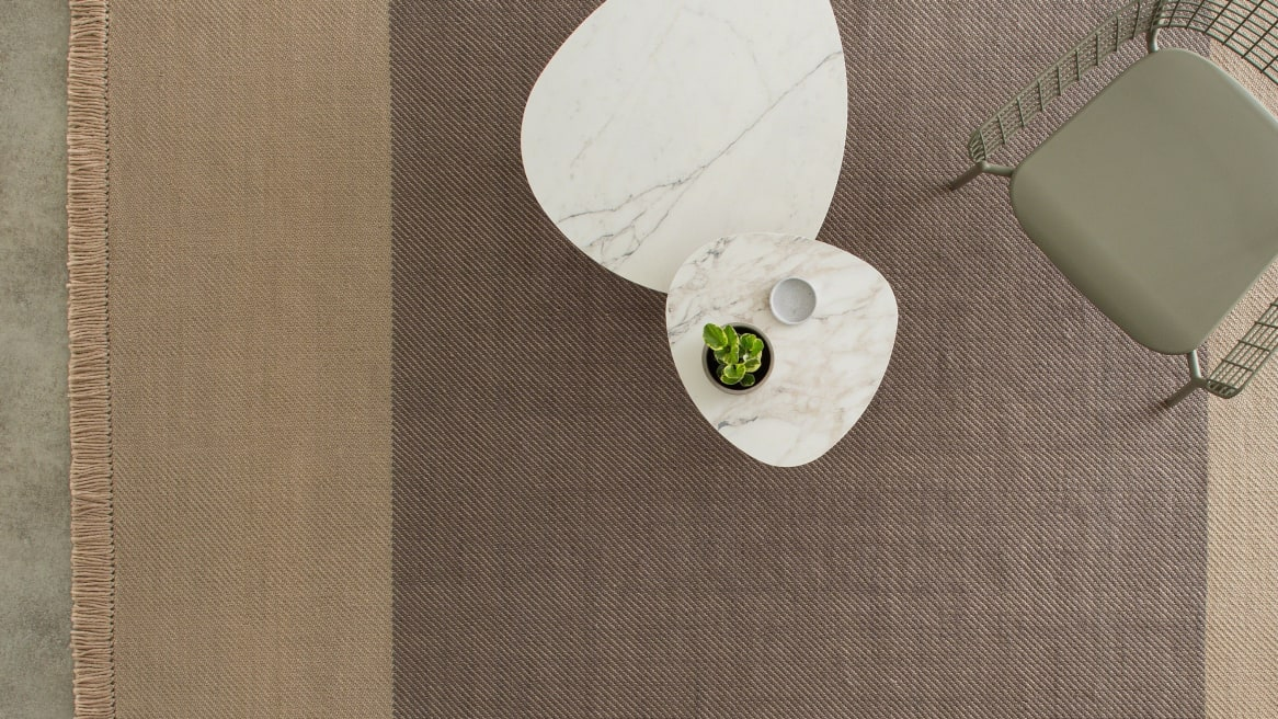 Coalesse Nanimarquina Diagonal Rug with table and one chair