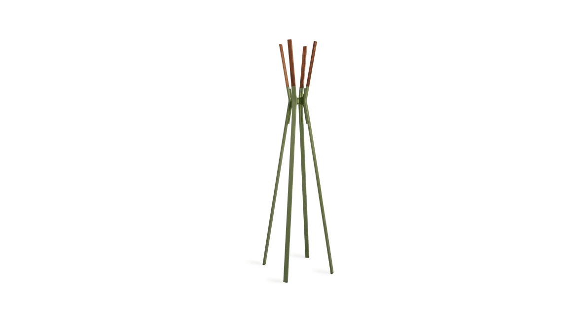 On-white image of the Splash Coat Rack in a green finish.