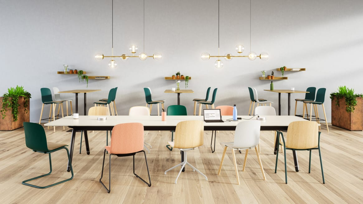 Workcafe environment with Cavatina chairs, Montara650, Potrero415, Bolia Lean, Bolia Orb