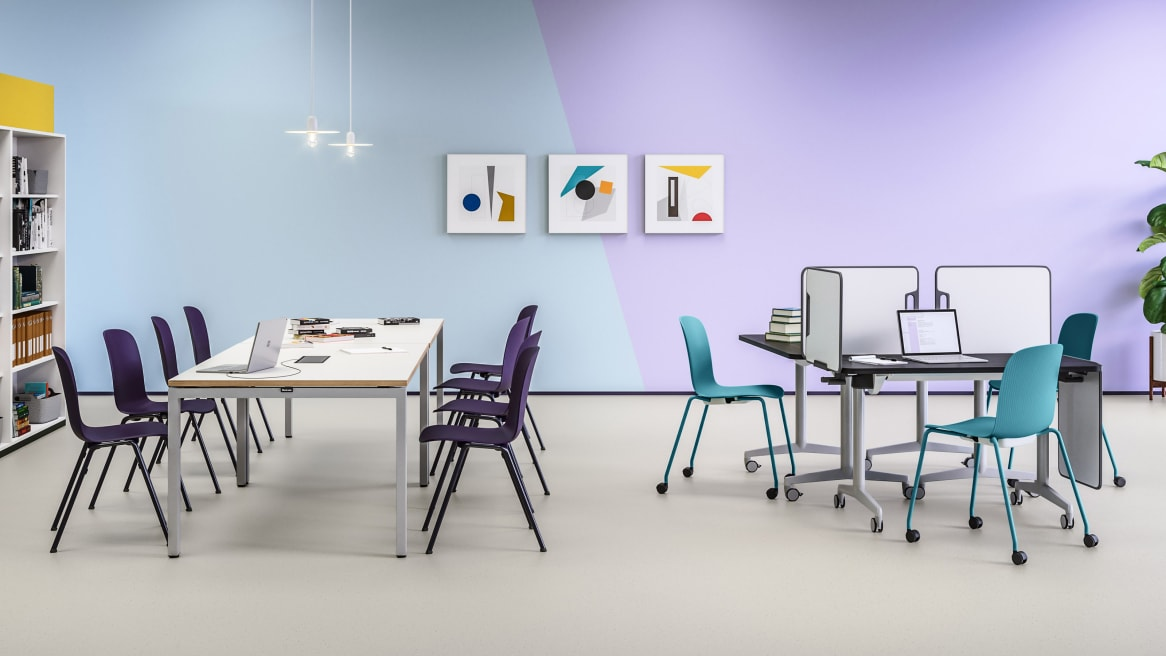 Collaboration environment with FrameFour rectangle table, Cavatina chiards, Verb table