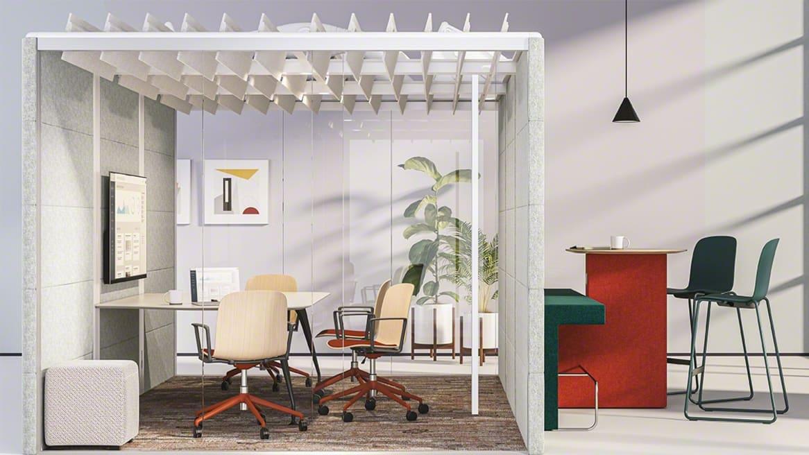 Conference room with Cavatina, B-Free Small Cube, Orangebox Border, Orangebox Air3 Pod