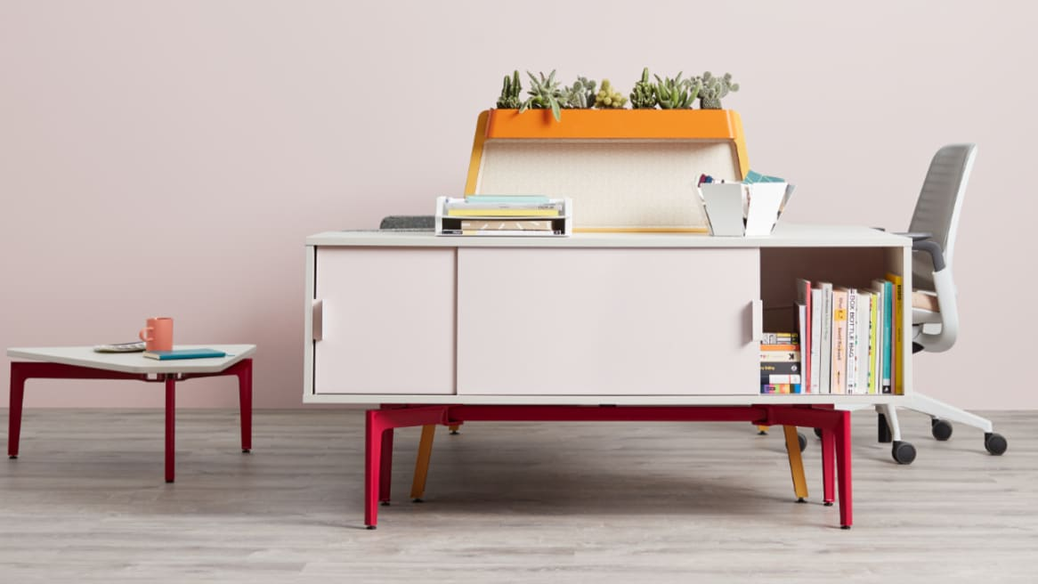 Side view of desk with storage credenza