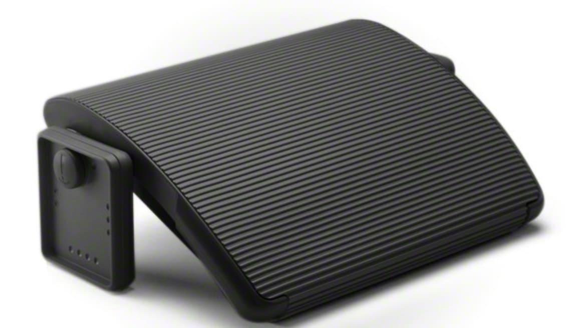 Black Steelcase Footrest on white background