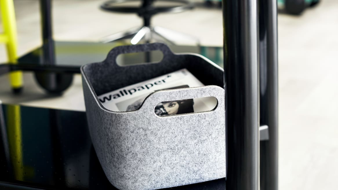 Steelcase Flex Accessories basket with magazines.