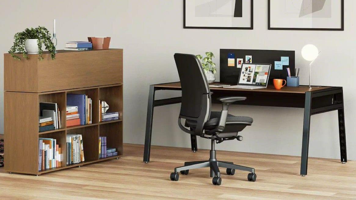 home space with a desk and Amia chair