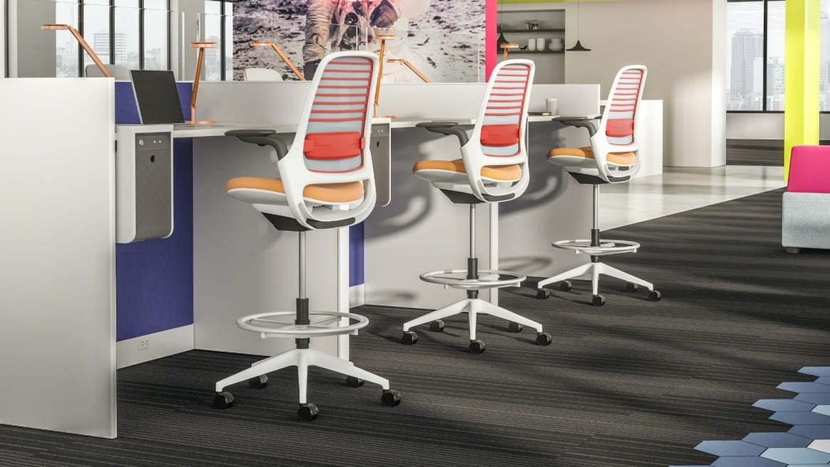 Collaborative space with colorful Series 1 stools
