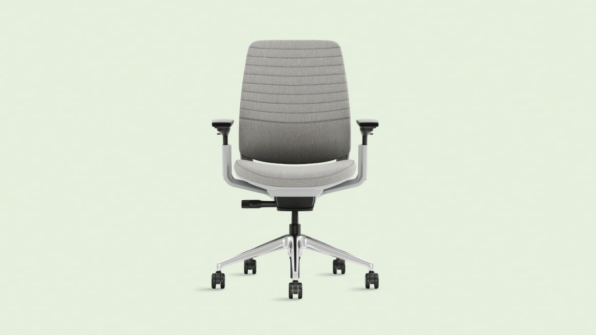Front view of a gray 5 start series 2 chair