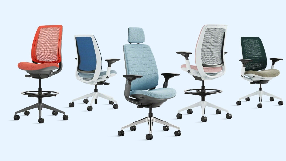front and back view of 5 different models of the Series 2 chair