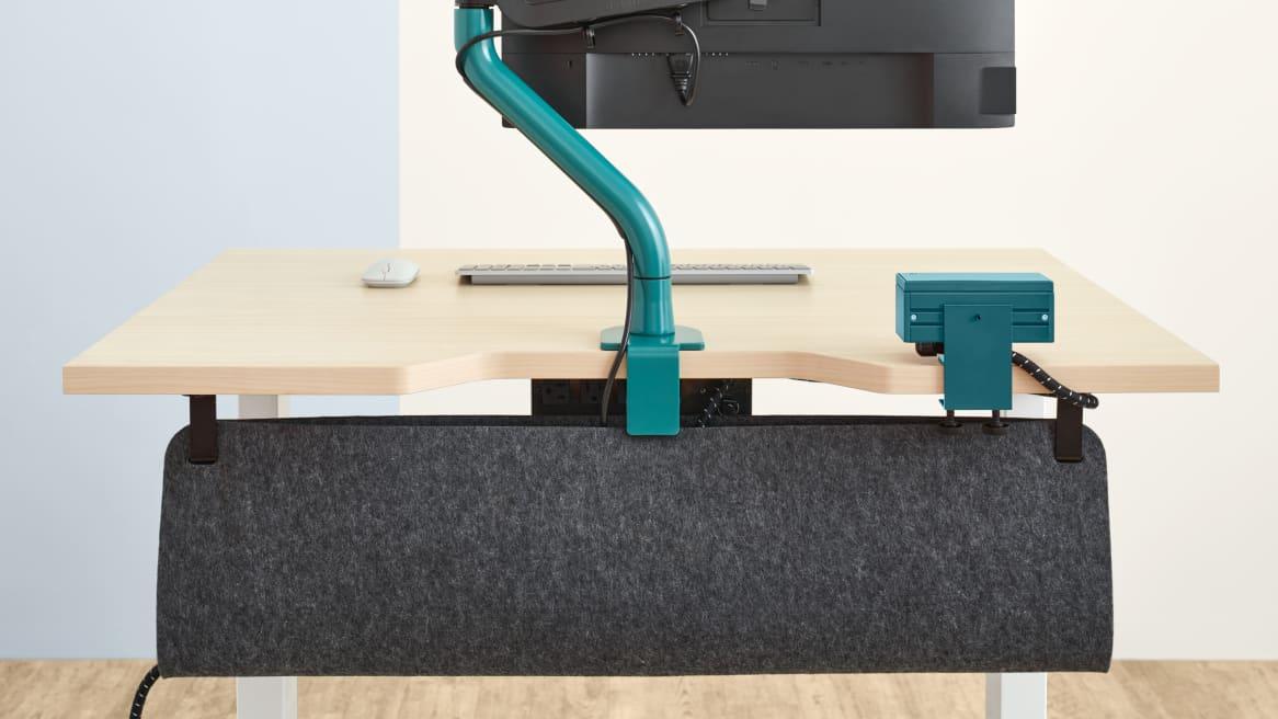 Bivi Height Adjustable Desk close up of cable drop