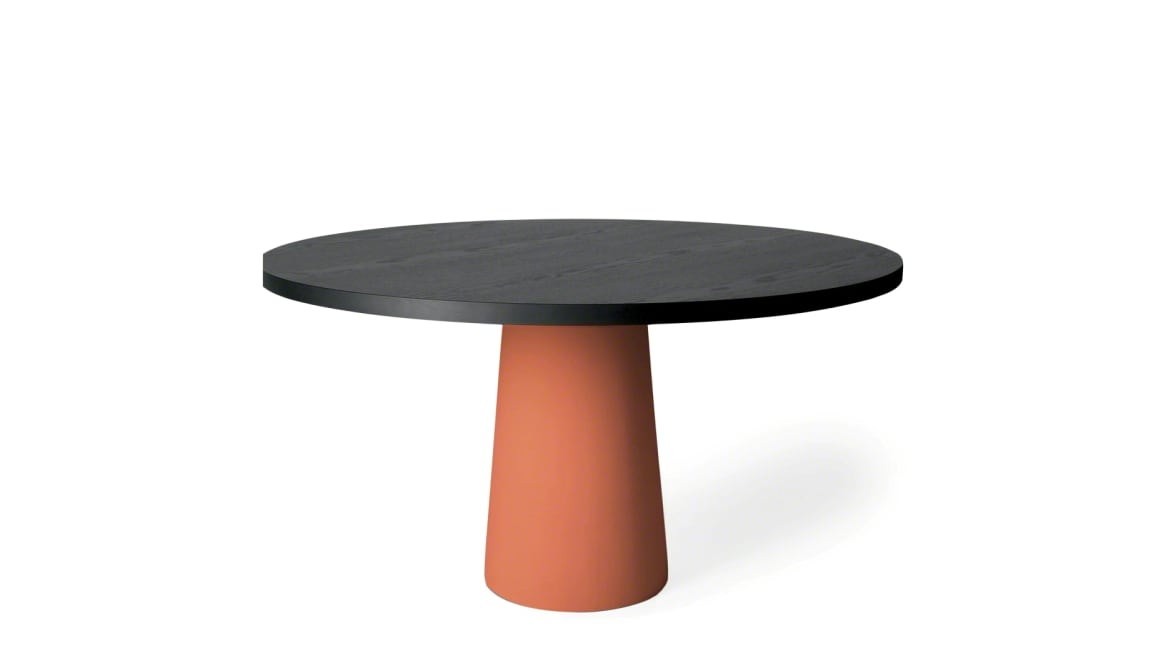on-white image of a short Moooi table with round surface and orange base