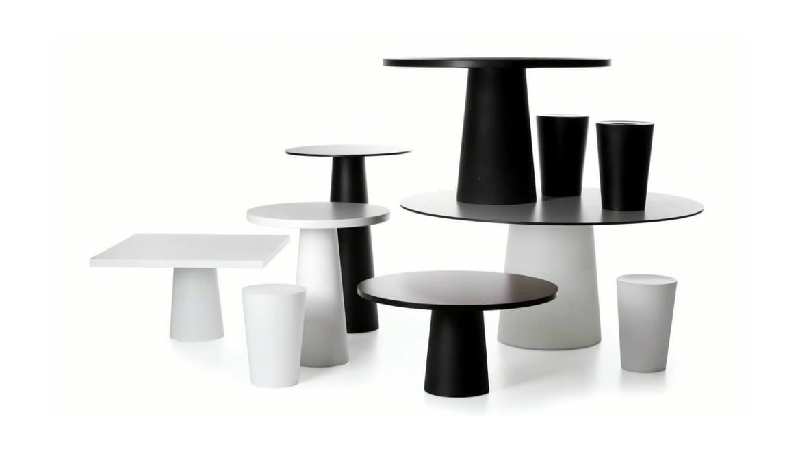 black and white Moooi container tables of different sizes