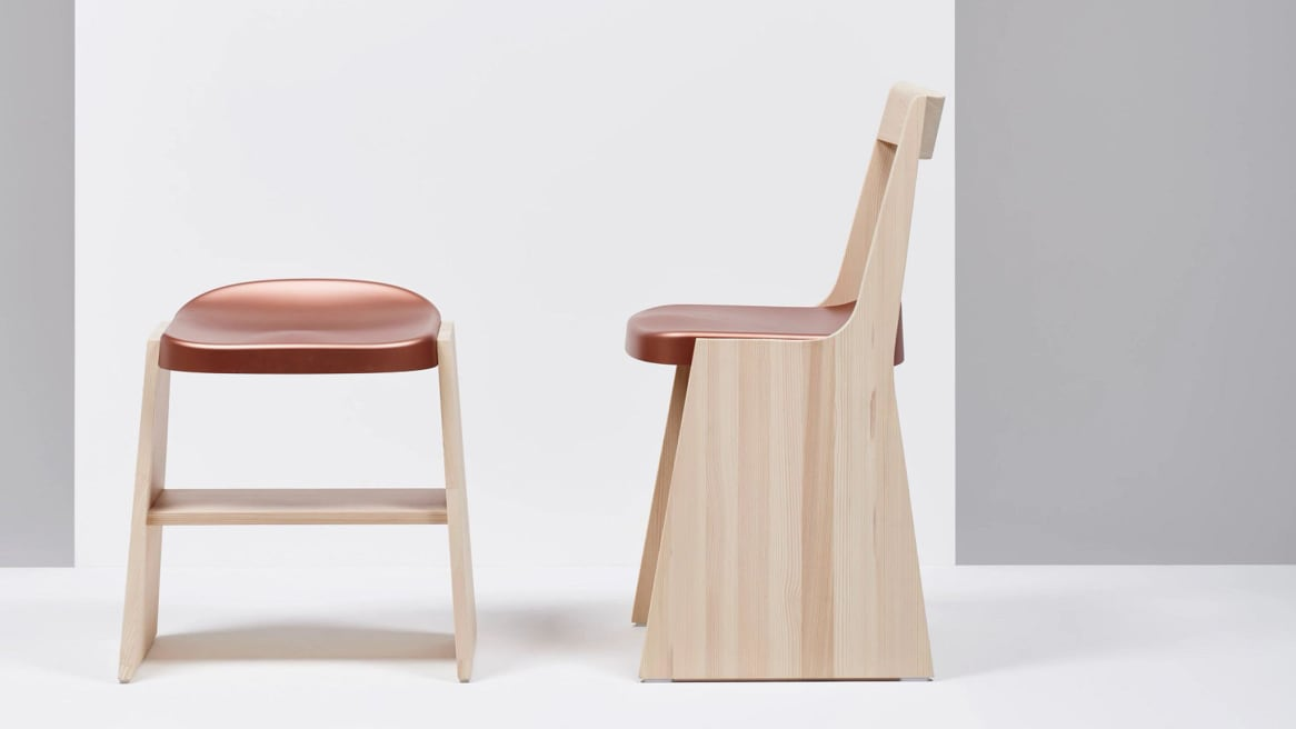 Mattiazzi Fronda Chair and Fronda Low Stool with Natural Pine Base, Copper Steel Seat and a
