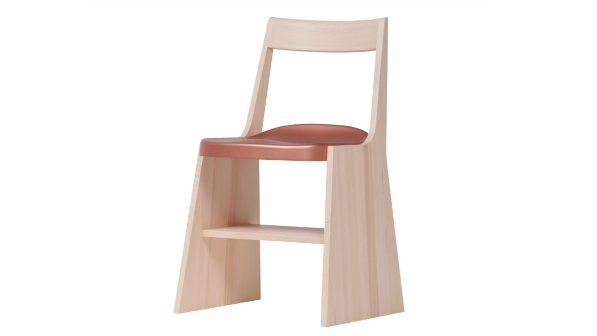 A Mattiazzi Fronda Chair with Natural Pine Base and Copper Steel Seat