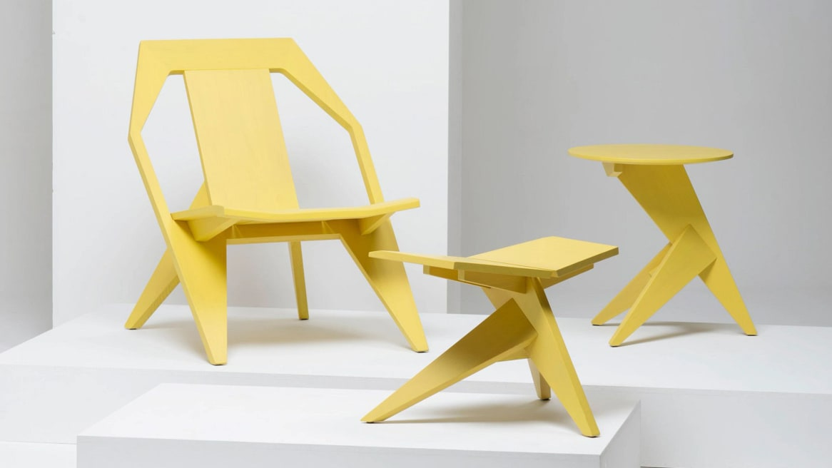 Medici Lounge Chair, Medici Stool and Medici Table by Mattiazzi in yellow.