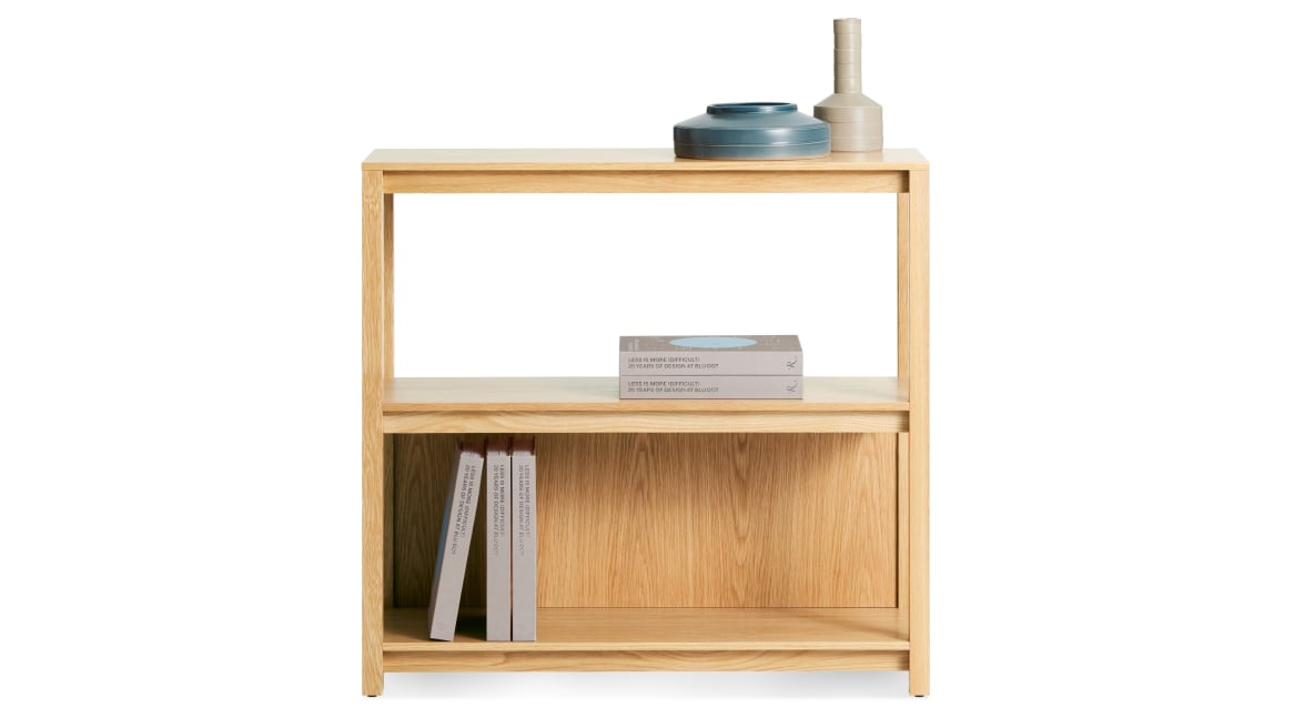 open plan bookcase with stuff on it