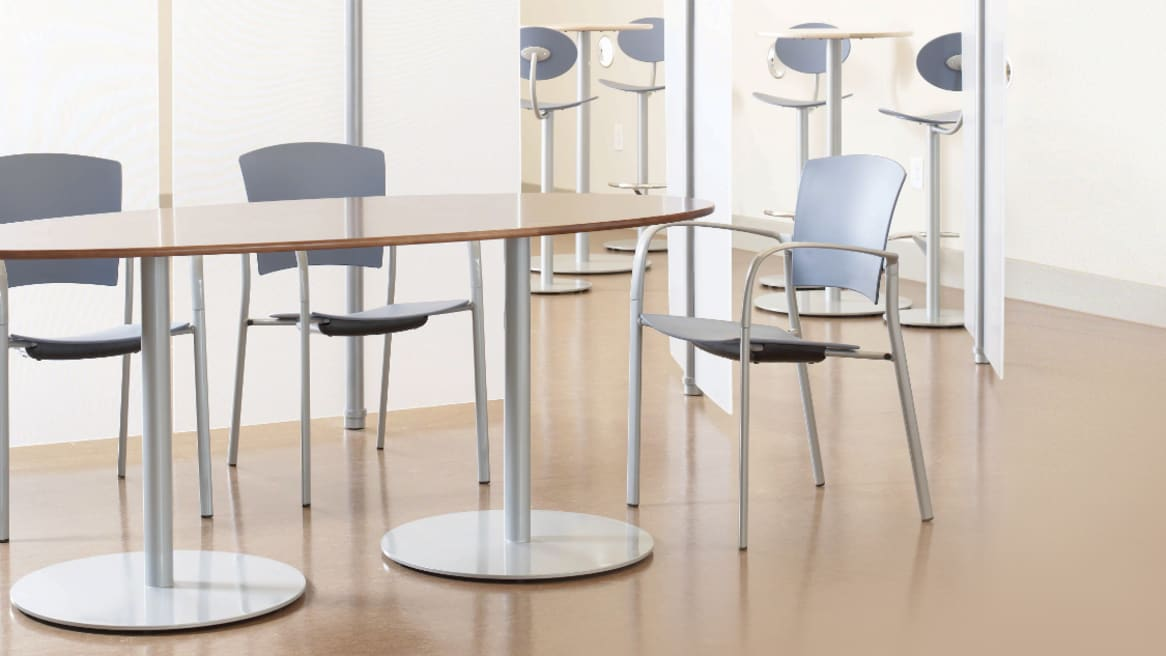 Enea Stacker Chair with Arms, Upholstered Seat and Back