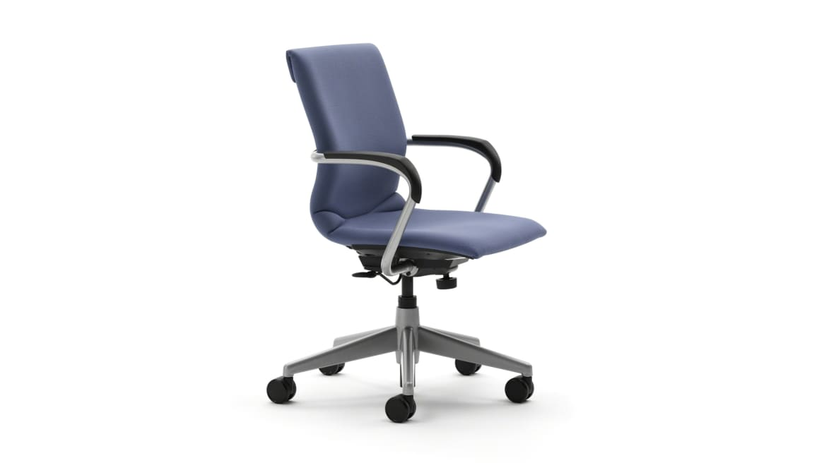 Close-Up of seat and back of a light blue swivel base Protege guest chair with metal arm rests
