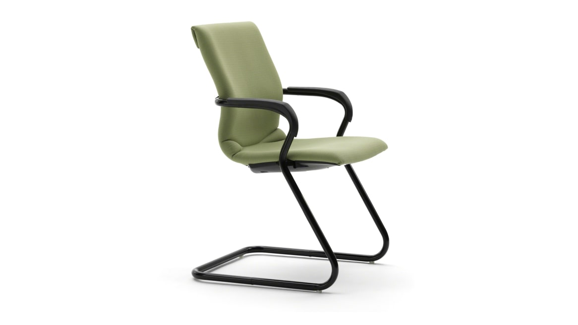 Green Protege Chair with a sled base