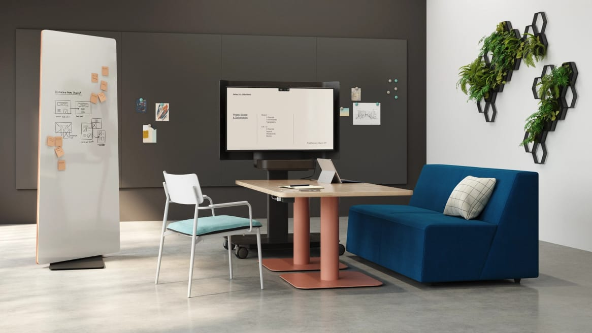 collaborative set with blue sofa and simple table