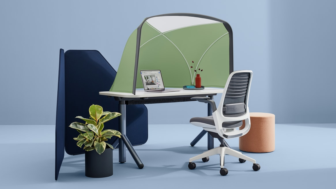 height adjustable desk with a Table Tent on it